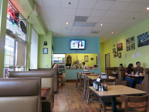 Tan's space is clean and airy, and with CNN on the TV, you'll be able to keep track of current events while you dine.
